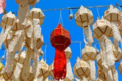 Paper Lantern : The rivers festival in the north of Thailand that to make offer to Buddha. royalty free stock image