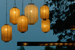 Paper Lanterns. Hanging Paper Lanterns add a relaxing element in the evening and night Stock Photos