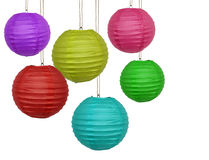 Paper lanterns. Colorful paper lanterns isolated on white Stock Image