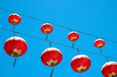 Paper Lanterns. Hanging above the streets in China Town, San Francisco, CA Stock Photos