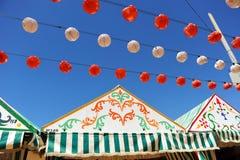 Paper lanterns, Caseta, Fair in Seville, Andalusia, Spain Stock Photo
