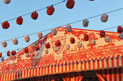 Paper lanterns, Caseta, Fair in Seville, Andalusia, Spain Stock Image