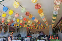 Paper lanterns, Fair in Seville, Andalusia, Spain. Inside decorating with paper lanterns at the fair in Sevilla Stock Images