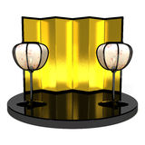 Paper Lanterns And Folding Screen Royalty Free Stock Photography
