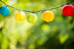 Paper lanterns hanging outside Royalty Free Stock Images