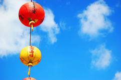 Paper Lanterns mark the route to Chinese temple. Paper Lanterns hang in Taiwan, Republic of China, to mark the route to traditional temples royalty free stock image