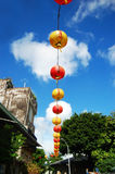 Paper Lanterns mark the route to Chinese temple. Paper Lanterns hang in Taiwan, Republic of China, to mark the route to traditional temples Royalty Free Stock Photo