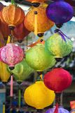 Paper lanterns for sale on Hang Ma street. The street are crowded before Vietnamese Mid-Autumn Festival for children who receive t. Oys, fruit and moon cake as Royalty Free Stock Images