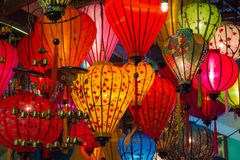 Paper lanterns on the streets of old Asian  town. Paper lanterns on the streets of old Asian town Royalty Free Stock Images