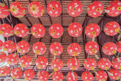 Paper lanterns on the streets of old Asian town.  Stock Photo