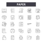 Paper line icons, signs, vector set, linear concept, outline illustration stock illustration