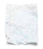 Paper Lined Crushed. Wrinkled Lined Paper Isolated on White Background stock image