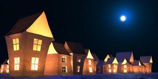 Paper lodges winter landscape 3D illustration stock illustration