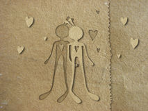 Paper in love. Illustration with cutout technique. Textured brown paper stock illustration