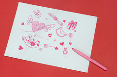 Paper love. Red paper underlay white paper love Royalty Free Stock Photos