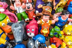 Paper Mache dummies monigotes on sale, ready to burn at midnig Royalty Free Stock Photos