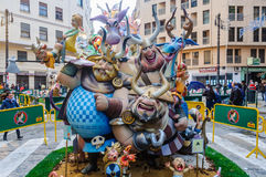 Paper mache figures in Las Fallas, Valencia, Spain Royalty Free Stock Images