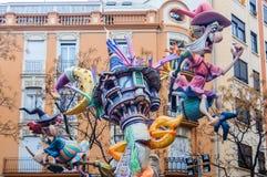 Paper mache figures in Las Fallas, Valencia, Spain Royalty Free Stock Photo