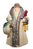 Paper-mache Santa Claus toy (with sack and basket). Antique paper-mache Santa Claus toy (with sack, basket and gifts), Russia Stock Images