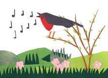 Paper made european robin bird siging notes in a bush. springtim Stock Photos
