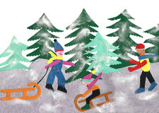 Paper made winter landscape with tobogganing children royalty free stock photos