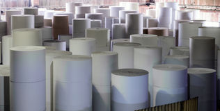 Paper making factory. Rolls of paper for further processing. Factory making paper Stock Photo