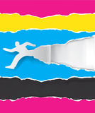 Paper male silhouette with print colors. Paper silhouette of  running man ripping paper with print colors with place for your text or image.  Concept for Royalty Free Stock Photos