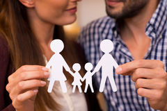 Paper man chain of family Stock Photography
