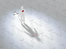 Paper People Concept. Paper man with red heart standing - 3D illustration Stock Illustration