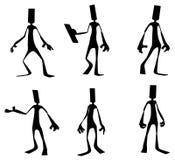 Paper Man Figure Dark. Flat symbolic figures dark silhouettes, 3d illustration, horizontal, isolated Stock Photos