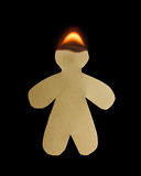 Paper man with head burn in flame Stock Photo