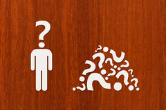 Paper man with question instead of head. Abstract idea concept Royalty Free Stock Photo