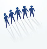 Paper man. A row of man cutout for concepts of defence, protest, protect, unity or others Royalty Free Stock Photos