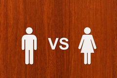 Paper man vs woman. Abstract conceptual image royalty free stock photos