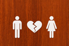 Paper man and woman with broken heart. Abstract conceptual image Stock Photos