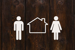 Paper man, woman and house. Housing, family concept. Abstract conceptual Stock Photo