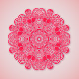 Paper mandala. Pink background. Round ornament at pink and red. Design concept for yoga, beauty and spa salons. Ethnic oriental motif Stock Photo