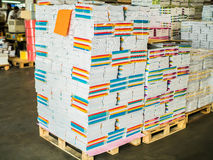 Paper manufacture storehouse. Ready products stock images