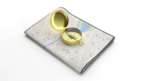 Paper map with 3D golden compass Royalty Free Stock Photo