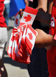 Paper Maple Flags in Canada Day Stock Photos