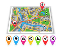 Paper maps, icons and distance marked in red Stock Images