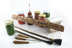 Paper marbling tools. Turkish art of marbling ebru Royalty Free Stock Images