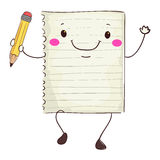 Paper Mascot Holding a Pencil. Vector Illustration of Paper Mascot Holding a Pencil Royalty Free Stock Photography