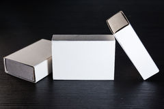 Paper Match Boxes Cartons Cardboard White Blank Template Contraast Stock Images