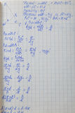 Paper with mathematical formulas Stock Image