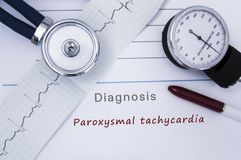 Paper medical release form with diagnosis of Paroxysmal tachycardia from category Cardiac arrhythmia diseases with printed ECG, st stock photo