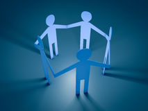 Paper men. 3d render of paper people in a circle Royalty Free Stock Photos