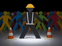 Paper men at work Royalty Free Stock Images
