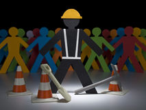 Paper men at work Royalty Free Stock Image