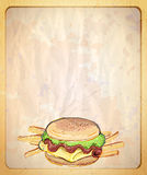Paper menu list with empty place for text and  illustration of burger and fries. Stock Images